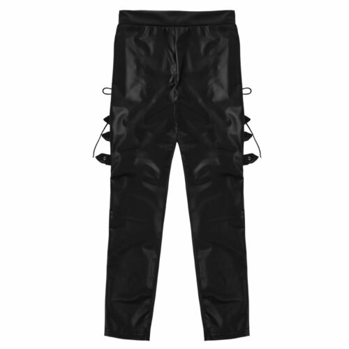 Womens Wet Look Stretchy Leather Pants Lace Up Pencil Skinny Leggings Trousers