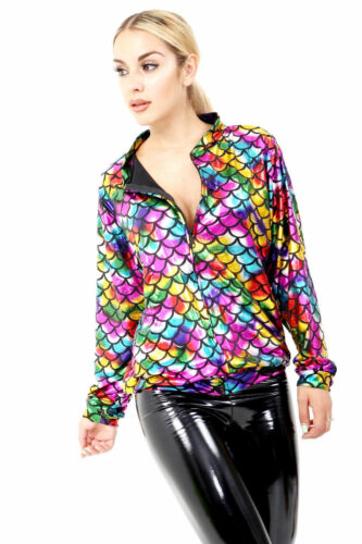 Womens Glitter Sequin Bomber Jacket Coat Top Biker Festival Clubbing Party Club