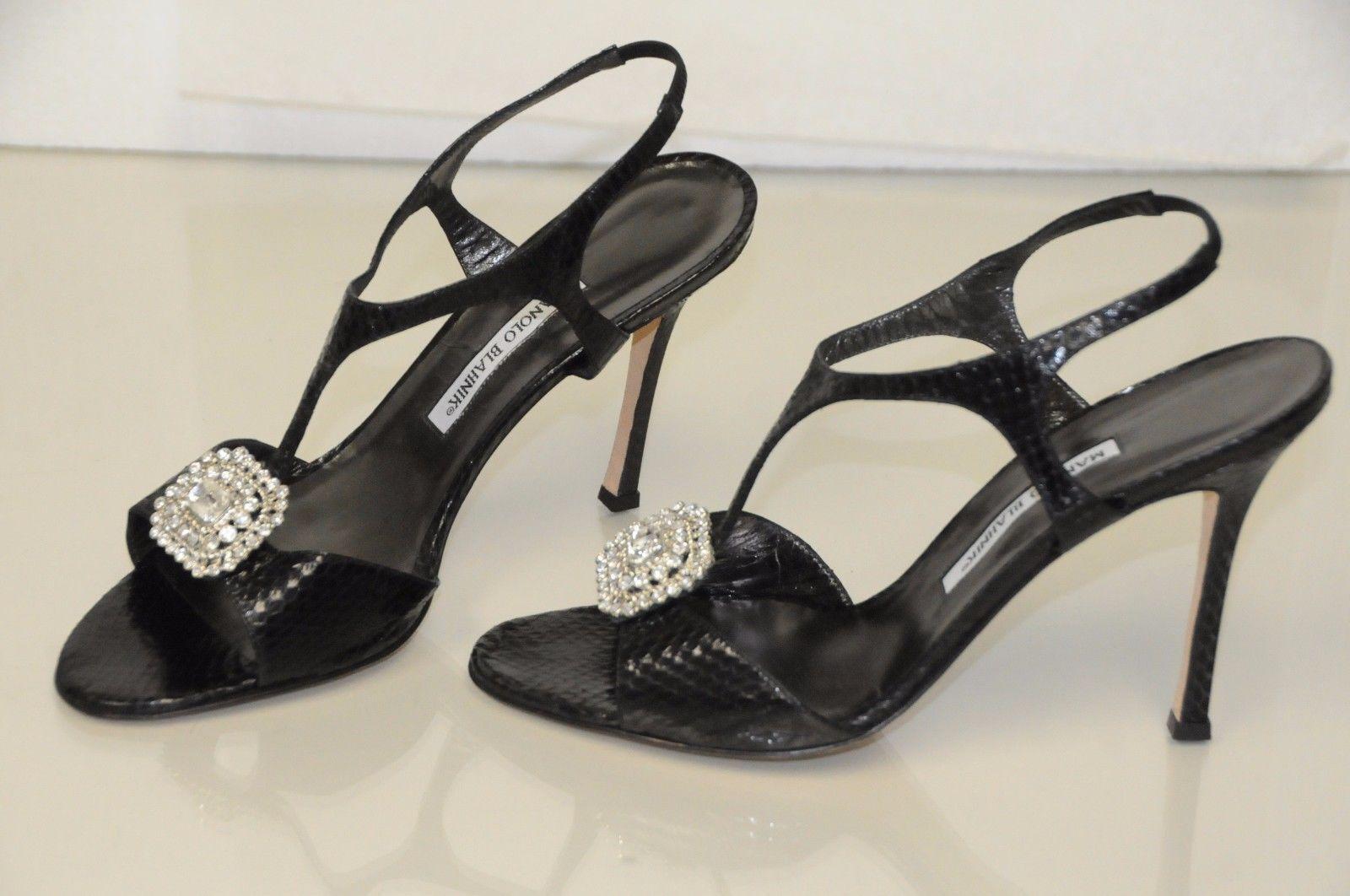 Neu Manolo Blahnik Krusostrel mit Jeweled Kristallen Schuhe Sandalen 41.5