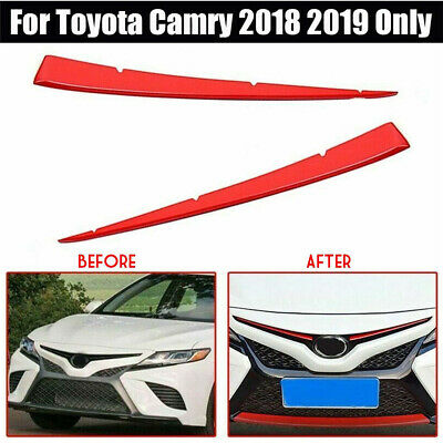 Car Decoration Red Front Center Grille Cover Trim Fit For Toyota Camry 2018 2019
