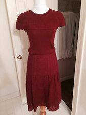 NWOT Akris Punto burgundy size 4 wool top and A-line skirt size 4