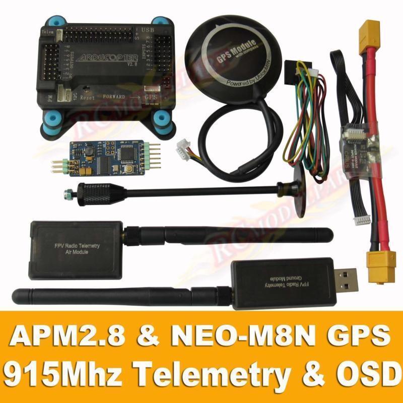 Apm2.8 flight controller + neo-m8n gps, 3dr 915mhz telemetrie, osd, power - modul