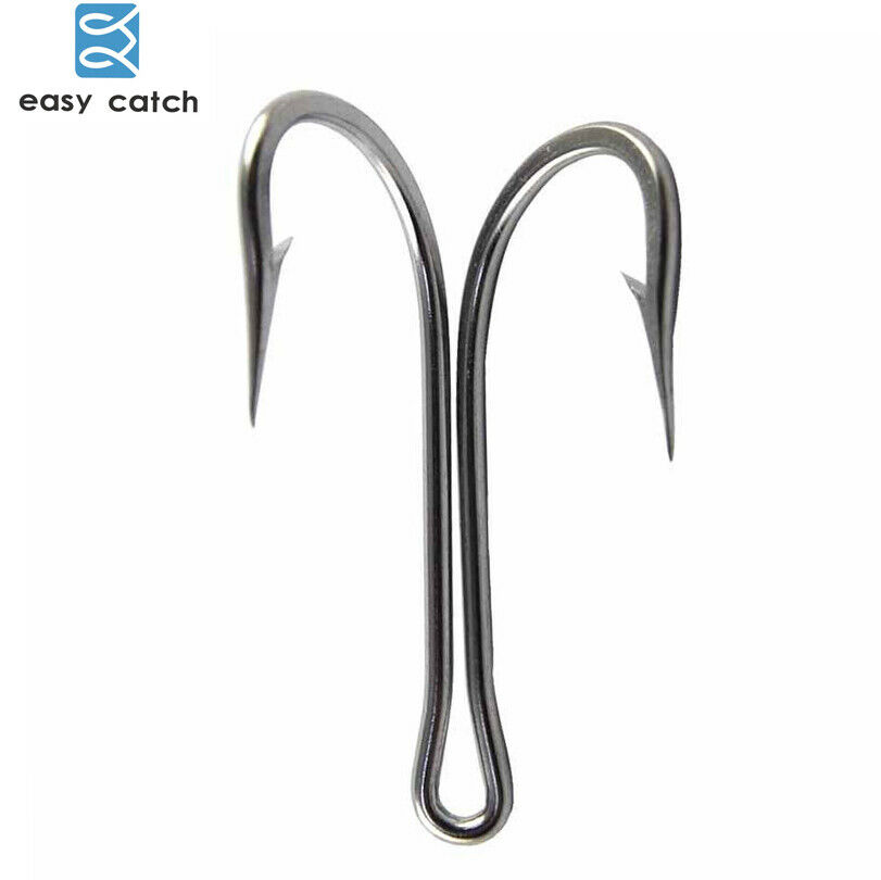 30pcs 4 0-10 0 Strong Double Hooks Saltwater Stainless Steel Frog Toad Fish Hook