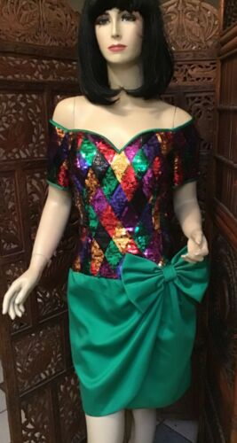 Vintage 1980's Sequin and Emerald Party Dress Juli
