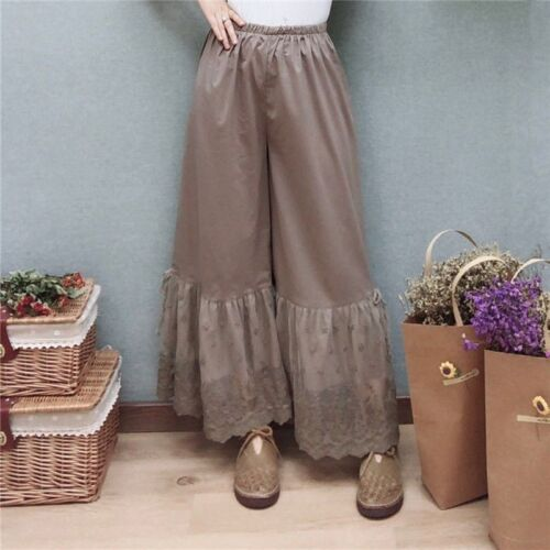 Women Lolita Gothic Cotton Wide Leg Pants Trousers Floral Lace Loose Vintage New