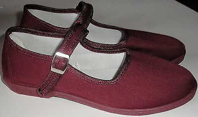Adini -Mary Jane Canvas Yoga Shoes-Made In China-Burgundy-womens sizes7&9