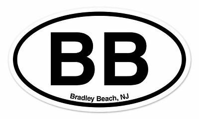 "BB Belmar Beach NJ New Jersey Oval car window bumper sticker decal 5/"" x 3/"""