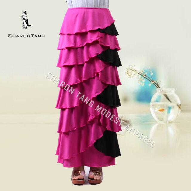 SHARON TANG Modest Apparel Long Pink & Black Stretch Ruffle Layer Maxi Skirt S