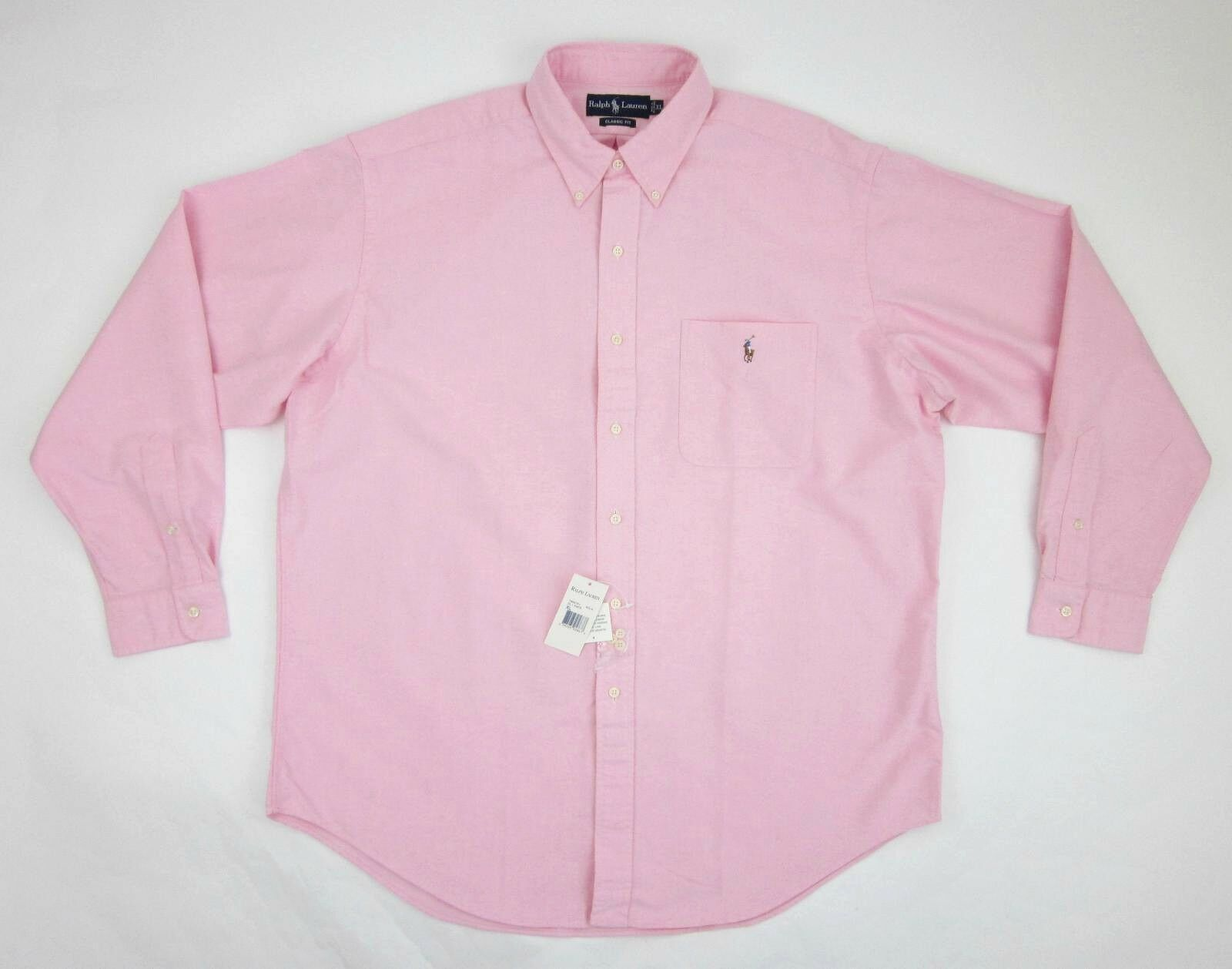 NWT  Men's Ralph Lauren Classic Fit Pink Oxford Button Down Shirt Pony Sz XL