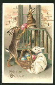 Bunny-Rabbits-Pass-Colorful-Egg-Lamb-Antique-Emboss-Easter-Postcard-German-p187