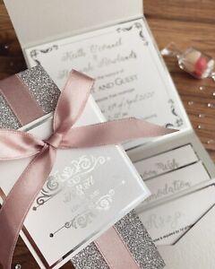 Details About Grey Silver Blush Pink White Glitter Pocketfold Wedding Invitation Sample