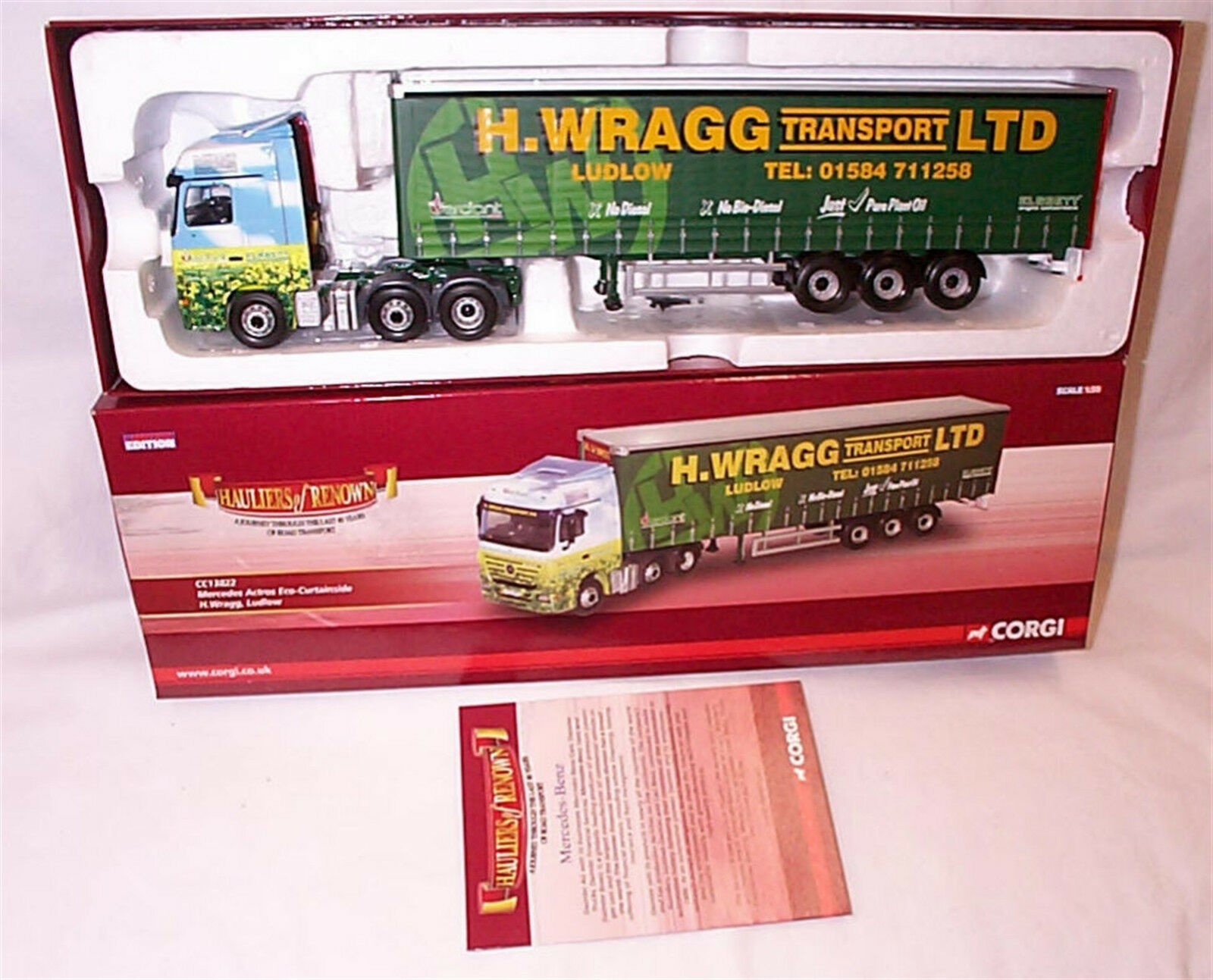Mercedes Actros Eco Curtainside H. Wragg CC13822 1-50 New in Box Ltd Edition