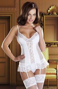 087bcb5d59 Image is loading White-Bridal-Corset-Soft-Basque-Honeymoon-Size-8-