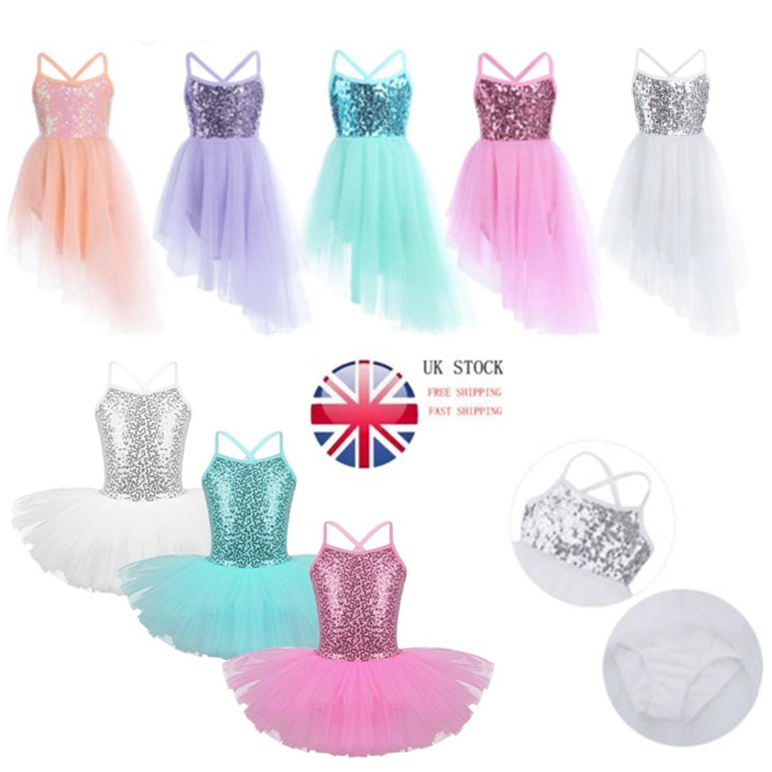 UK Girls Sequins Dance Dress Ballet Leotard Spaghetti Strap Tutu Skirt Dancewear
