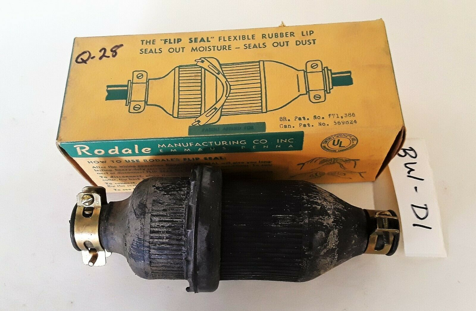 Rodale 1918 Flip Seal Rubber Cord Connector 20 Amp 3 Wire 250V Male and Female