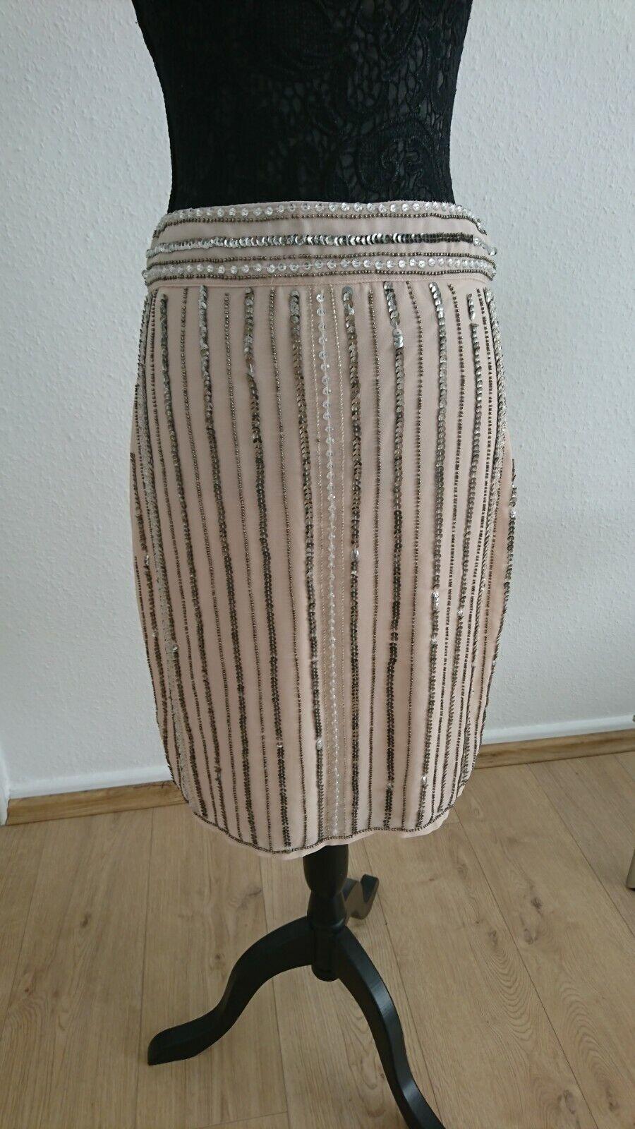 NEW Skirt Glamorous Size M Pink Knee Length Sequins Beads Powder Tender