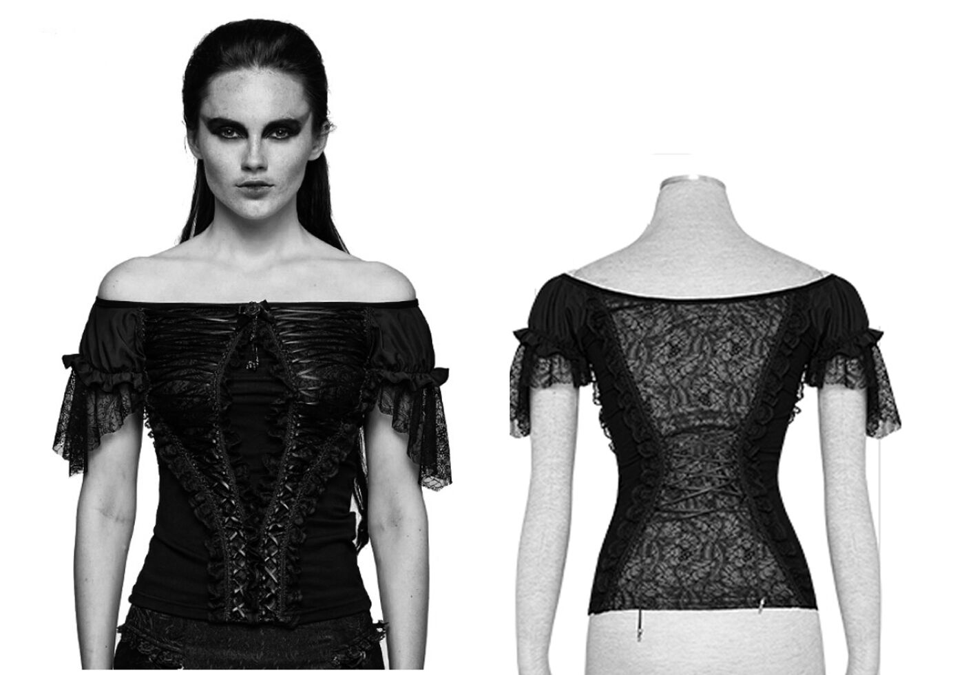 Punk Punk Punk rave gothic Shirt Top nugoth Pizzo Lace Steampunk Victorian lacci t446 9b1219