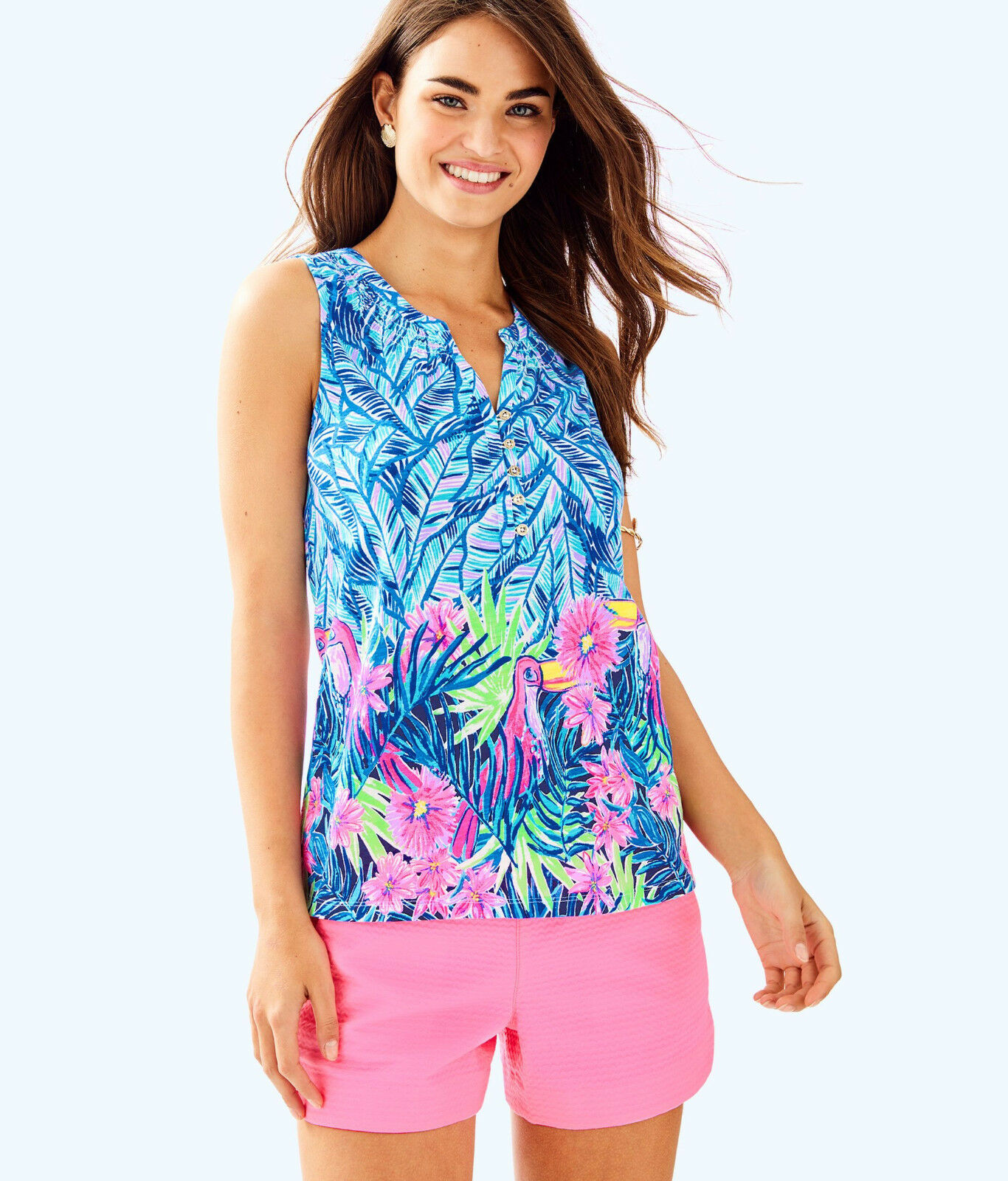 Lilly Pulitzer NWT Essie Top in Bennet Blau Lets Mango Engineerot