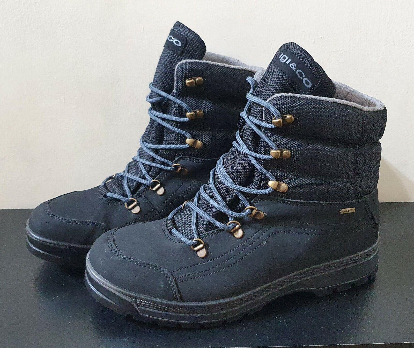 GORE-TEX IGI & Co Men's Walking Boots Black Nubuck Leather Lace Style. FREE P&P!