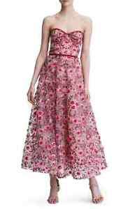 dc36a02c Image is loading MARCHESA-NOTTE-Floral-Embroidered-Strapless-Tea-Length-Gown -