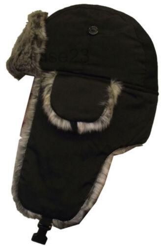 Black Faux Fur Trapper Men/'s Hat