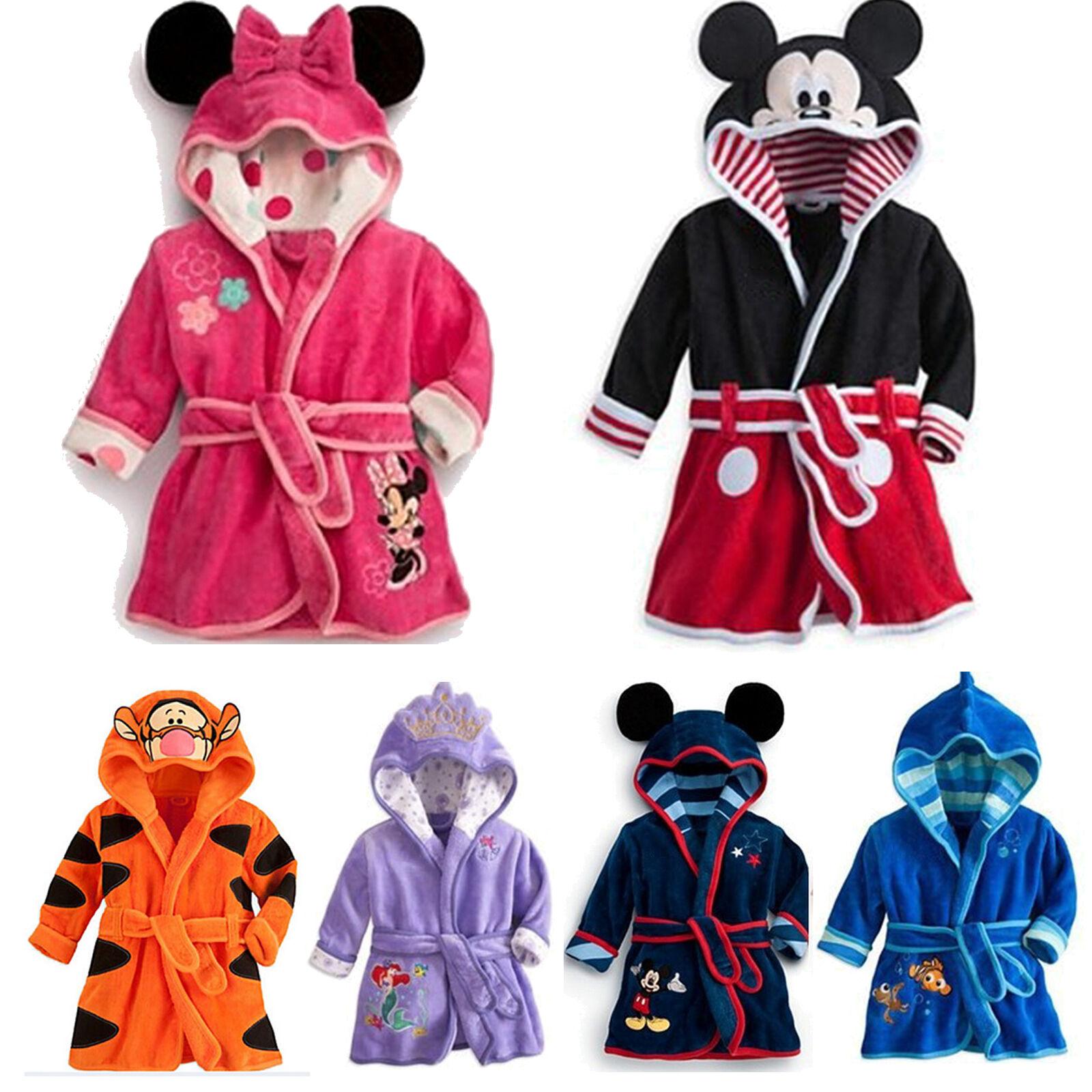 Kinder Bademantel Baby Mickey Kapuze Fleece Nachtwäsche Pyjama Warm PJs Handtuch