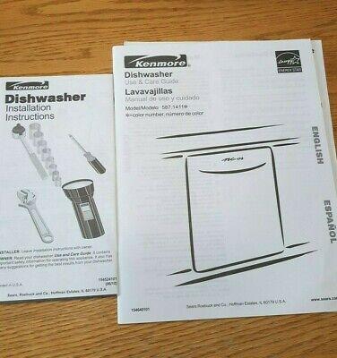 Kenmore Dishwasher Model 587 1411 Manual Appliance Use Installation Instructions Ebay