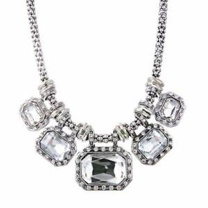 Women Fashion Jewelry Crystal Chunky Statement Bib Pendant Chain Necklace