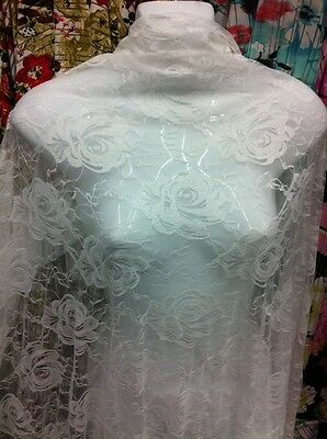 "Off White stretchy lace fabric beautiful Roses design 56""wide £4.99 per metre"