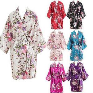 Women Short floral Robe Dressing Gown Bridal Wedding Bride Bridesmaid Kimono-
