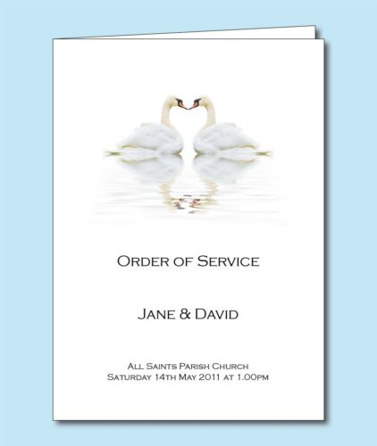 Day Cover  Booklet Love Heart Swans D046 Personalised Wedding Order of Service