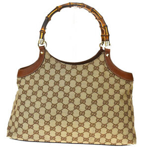 Authentic GUCCI Bamboo GG Pattern Shoulder Bag Canvas Leather Brown 86MD819