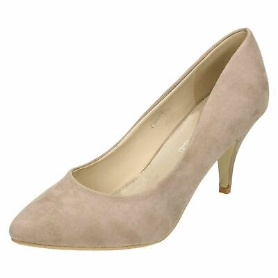 Spot On F9R643 Ladies Nude Suede Effect