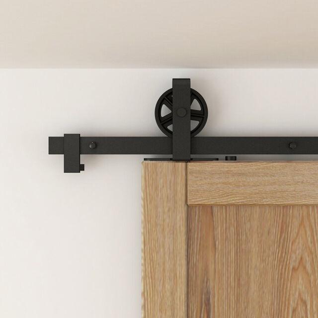 EaseLife 8 FT Sliding Barn Door Hardware Track Kit,Big Spoke Wheel,Fit 40~48 Wide Door