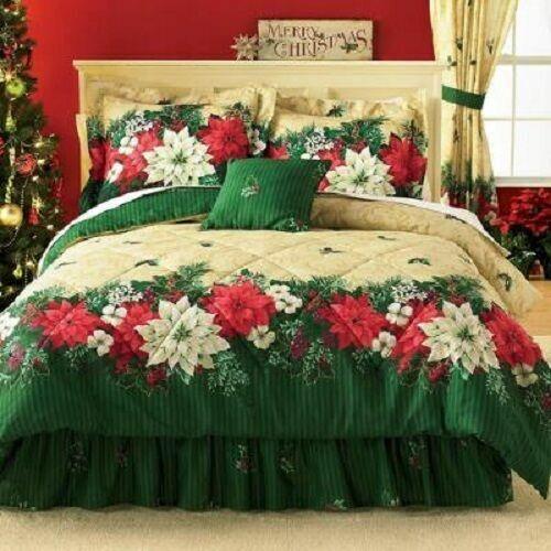 3pc Twin Poinsettia Border Comforter Set Green Flower Floral Bedroom Decor For Sale Online Ebay
