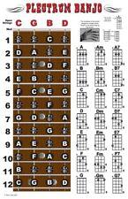 4 String Plectrum Banjo Fingerboard Chords Poster Chart