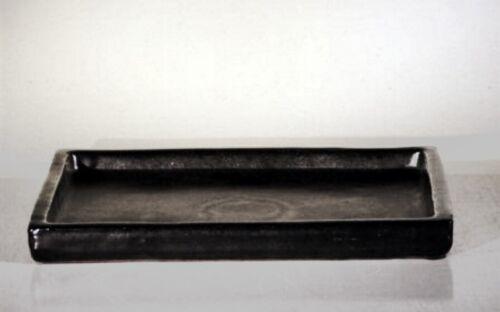 "Bonsai Humidity Drip Tray Rectangular Ceramic Black 73//4/"" x 5 1//4/"" x 3//4/"""