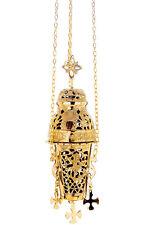 Church censer chains incense burner thurible polished brass 25cm