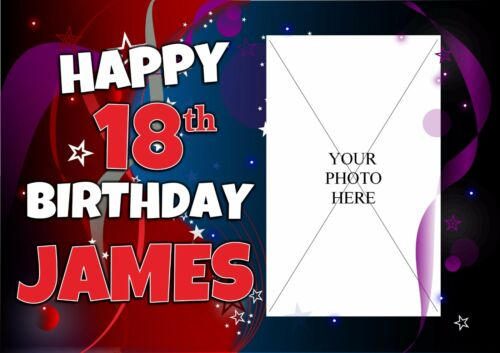 Personalised Happy Birthday Poster Banner N142 Boys Girls 18th 21st 30th ANY AGE
