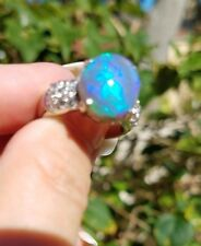 Stunning 6.4 tcw Carat Black Opal Diamond Platinum ring
