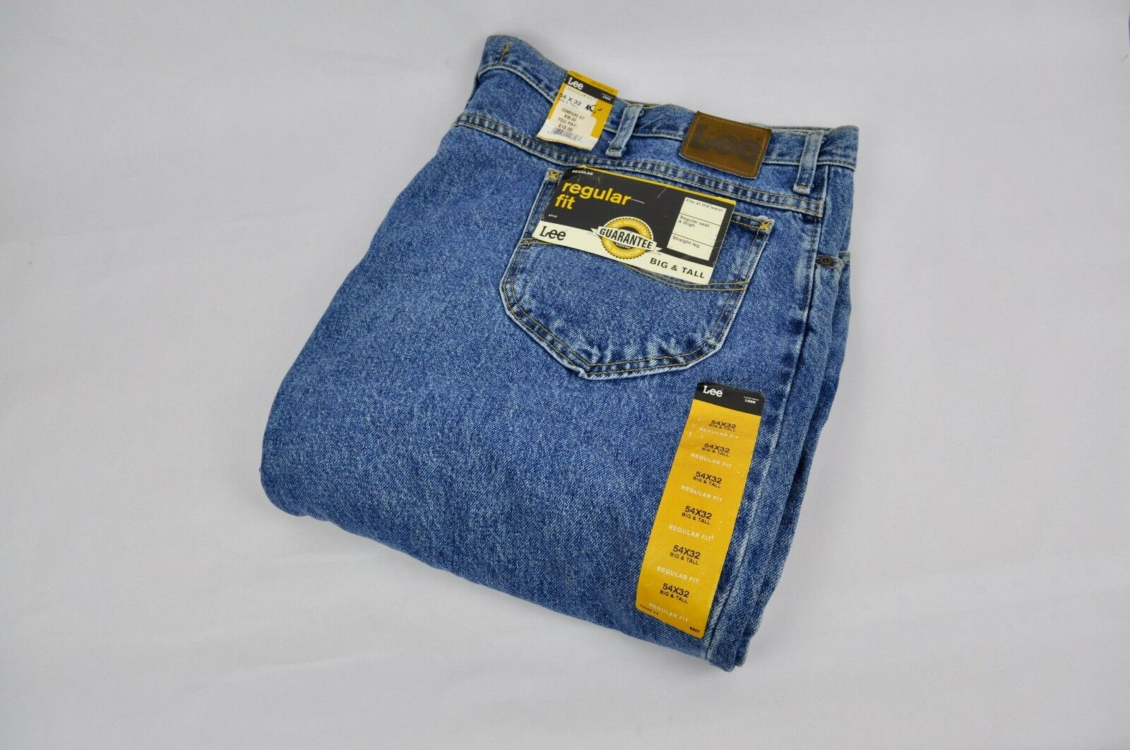 LEE Regular Fit Jeans Big&Tall W54 L32 Denim Stonewashe Straight Leg Peper Stone