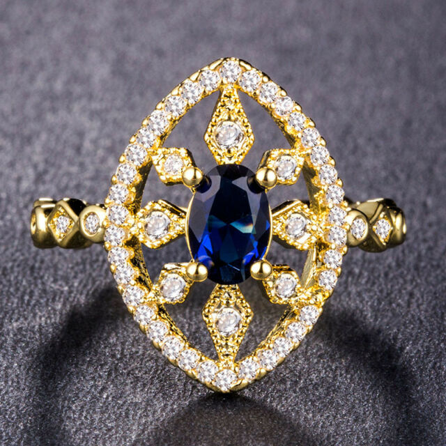 Luxury Women Wedding Rings 18k Yellow Gold Plated Blue Sapphire Ring Size6-10