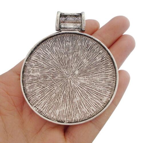 2pcs Antique Silver Large Boho Bohemian Medallion Round Necklace Charms Pendants