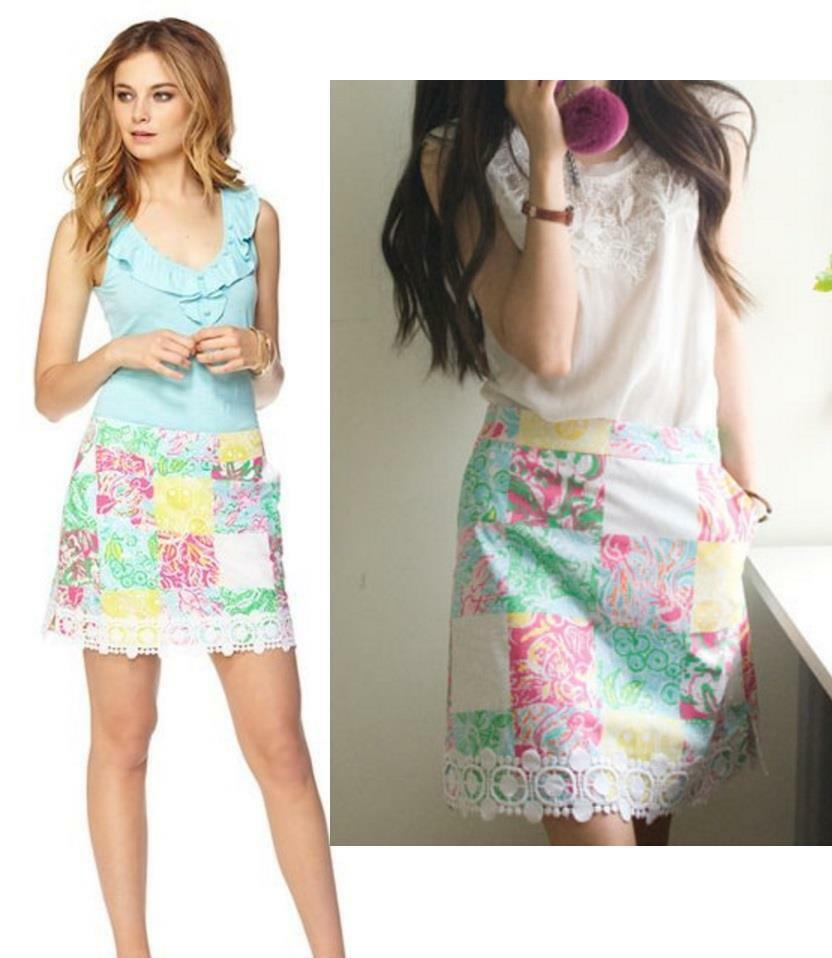 NEW Lilly Pulitzer Skirt mini skirt floral Multi State Patchwork 0 2 4 6 8  98