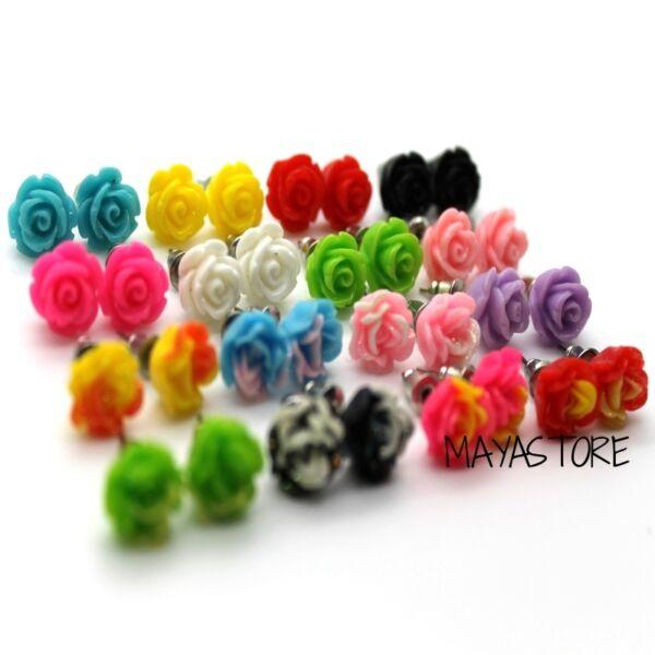 1 Paar Rosen Ohrstecker Ohrring 3d Piercing Shabby 16 Farben Blume BlÜte Rose SchöNer Auftritt