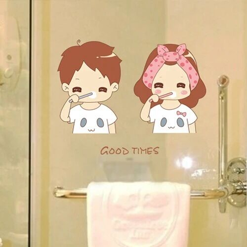 Toilet Bathroom Wall Sticker Tile Art Decal Room Decor Come Brush Teeth With Me