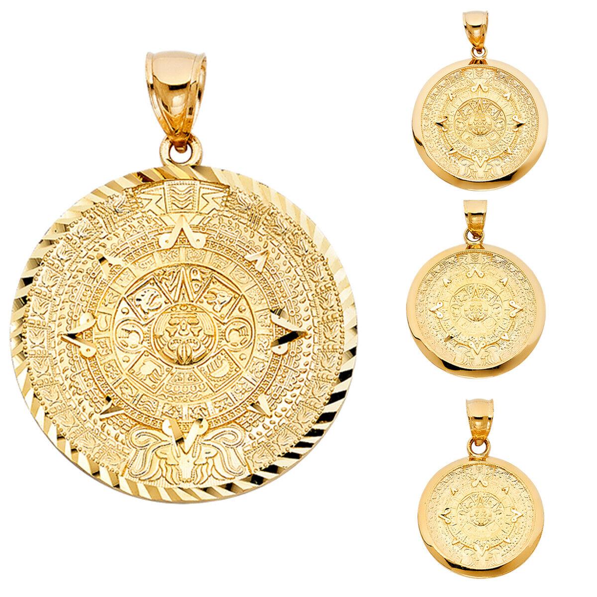 14k Real Yellow gold Calendario Azteca Pendant Collection For Men Women