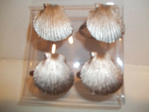 KEMP /& BEATLEY SET OF 4 NAPKIN RINGS SILVER SEA SHELLS NWT BEACH OCEAN SHELLS