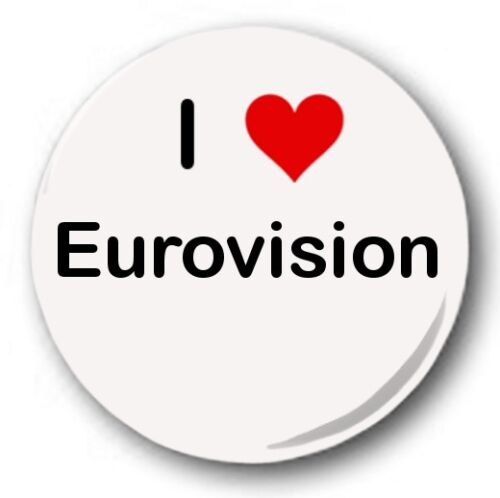 """25mm 1/"""" Button Badge Novelty Cute Heart Song Contest I LOVE EUROVISION"""