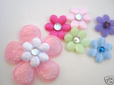200 Small Satin//Felt Flower /& Rhinestone Jewel Center Applique//Craft//Trim L91